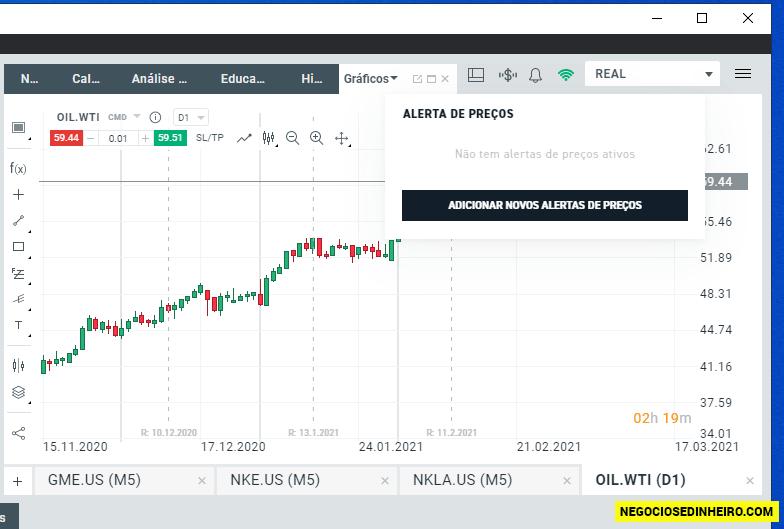 Alerta de preços na plataforma xStation 5 da XTB