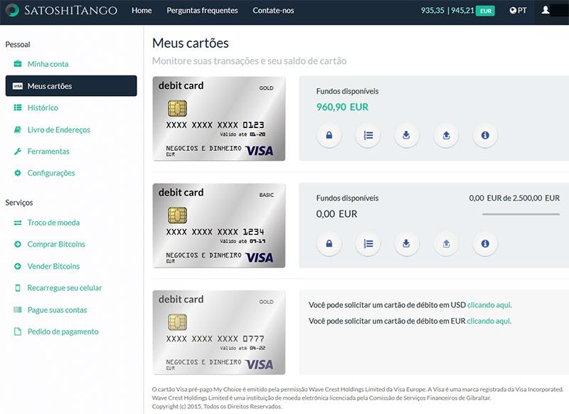 Cartões de Débito de Bitcoin SatoshiTango