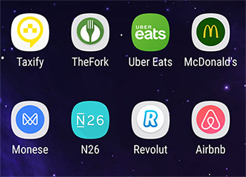 As apps Monese, N26 e Revolut instaladas