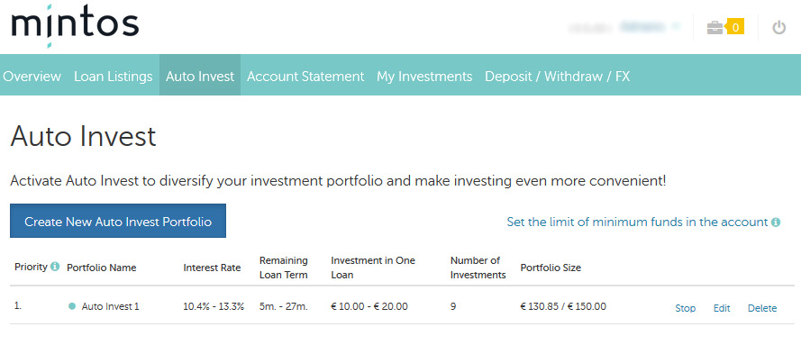 Auto Invest na plataforma crowdfunding Mintos