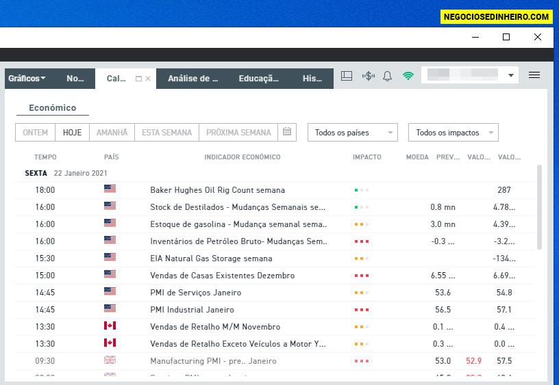 Calendário económico na plataforma xStation 5