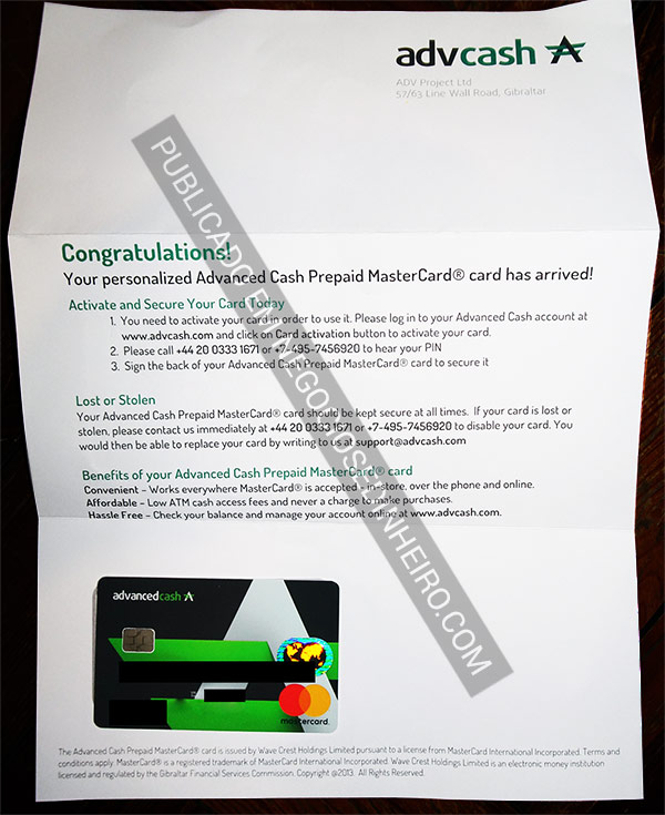 Carta com o Cartão Bitcoin Advcash