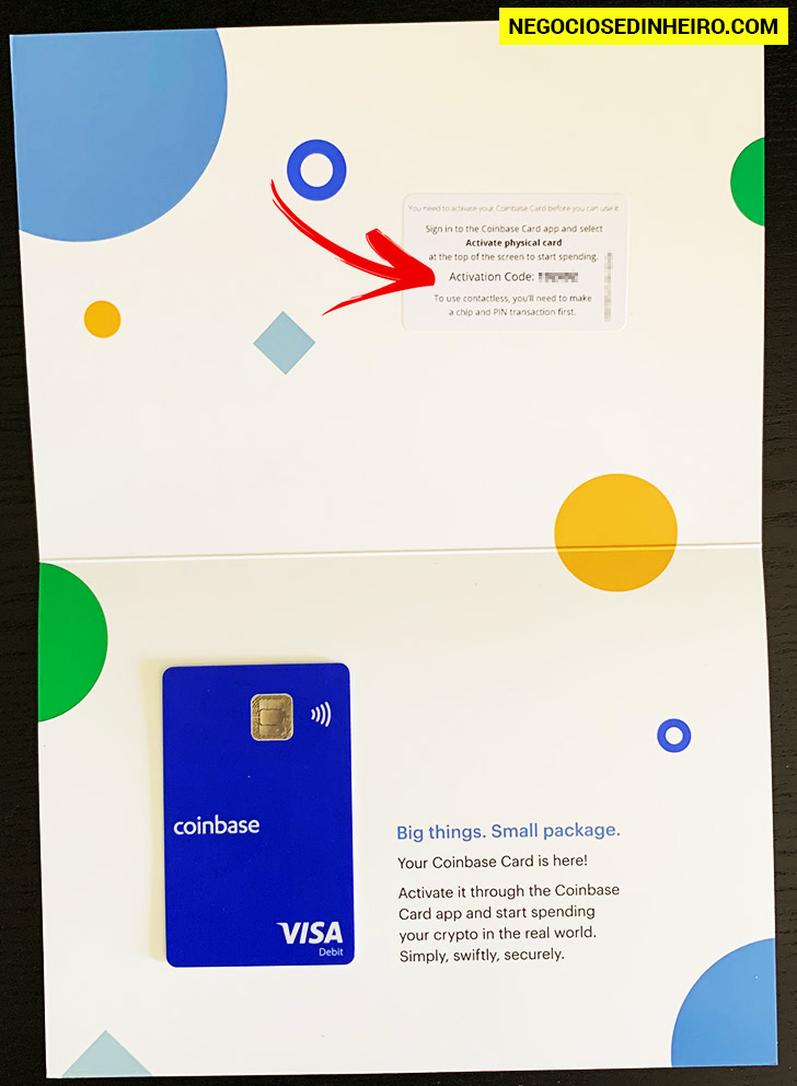 Carta com o Cartão Coinbase Card