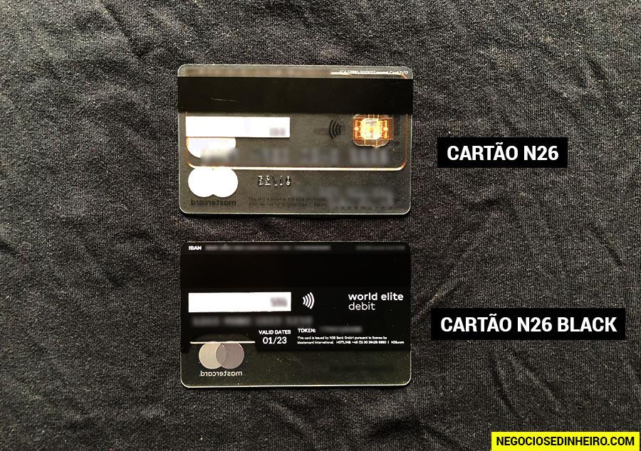 Cartão N26 Black e o Cartão N26 Standard Mastercard