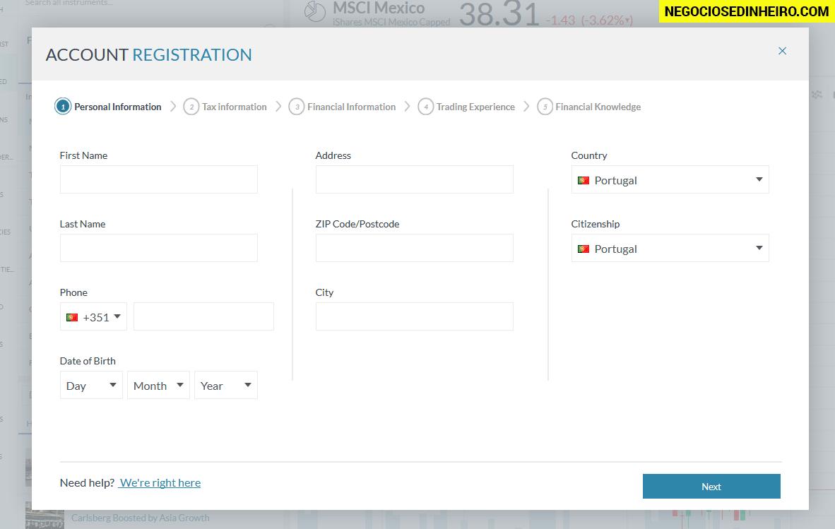 Como abrir conta na Markets.com