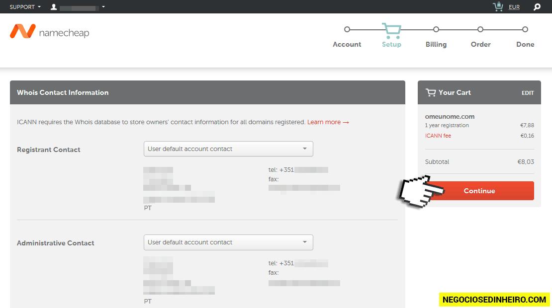 Passos para comprar domínio .COM