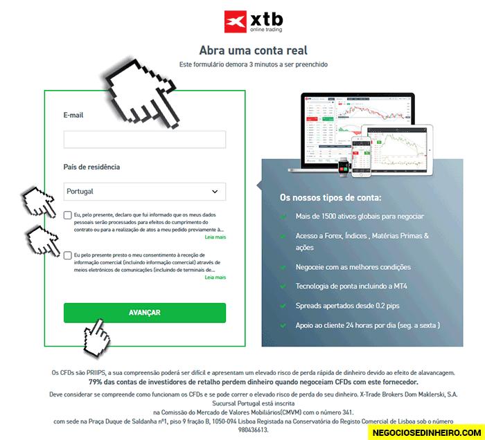Como criar conta na XTB