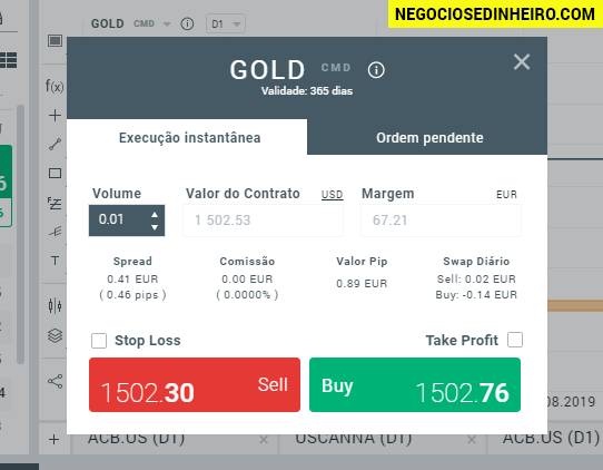 Como Negociar Ouro na corretora XTB