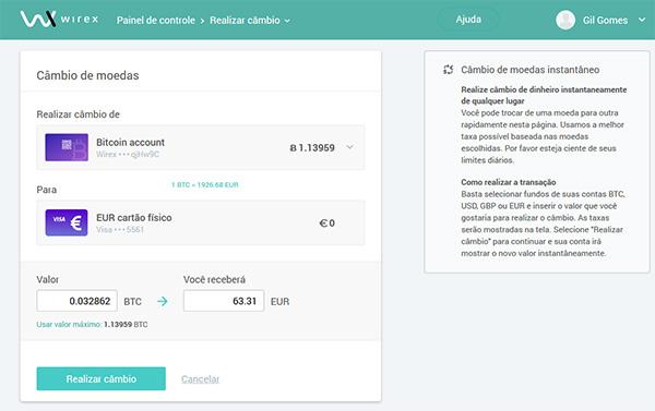 Converter Bitcoins em Euro no Cartão de Débito