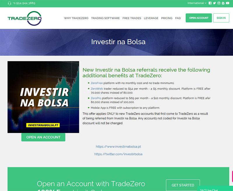 Criar conta na TradeZero