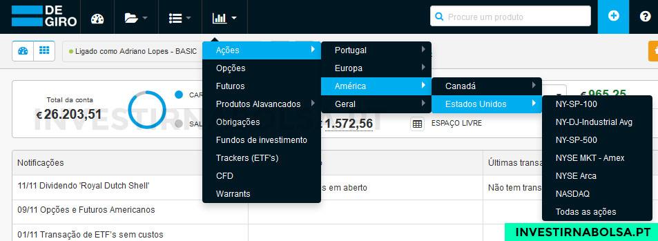 Plataforma de trading DEGIRO - Investir na Bolsa
