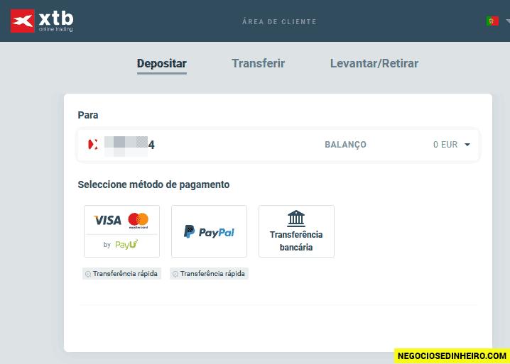 Depositar dinheiro na conta XTB