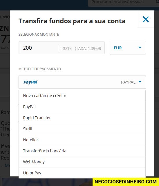Depositar Dinheiro no Etoro