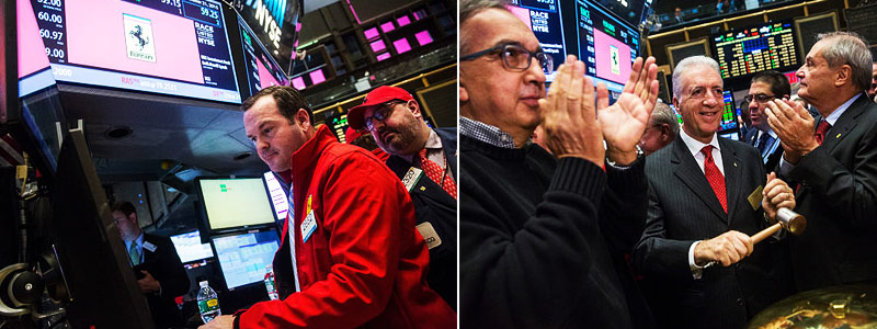 Dia de entrada na Bolsa de Valores NYSE da Ferrari
