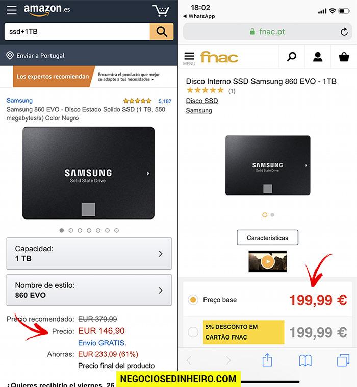 Diferenças de preço entre a Amazon Espanha e a FNAC