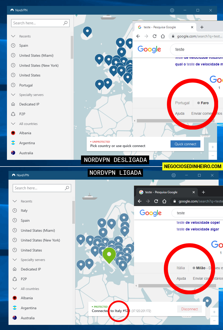 NordVPN ativada e desativada - veja as diferenças