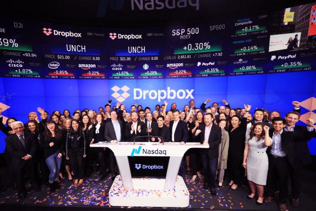 Estreia da Dropbox na Bolsa de Valores NASDAQ