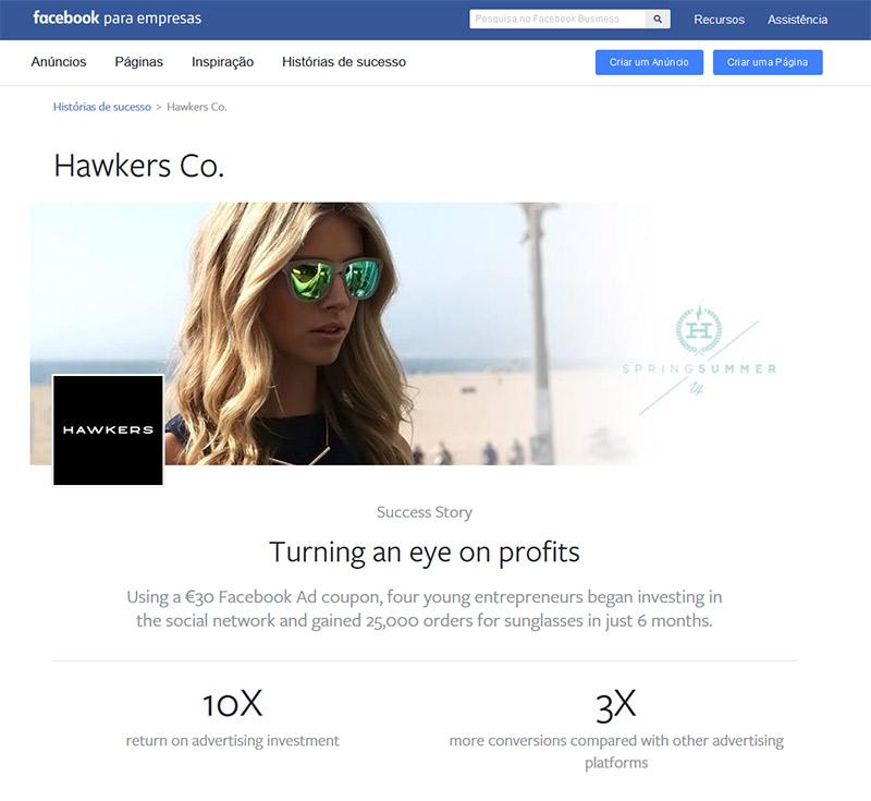 História de sucesso da Hawkers no Facebook