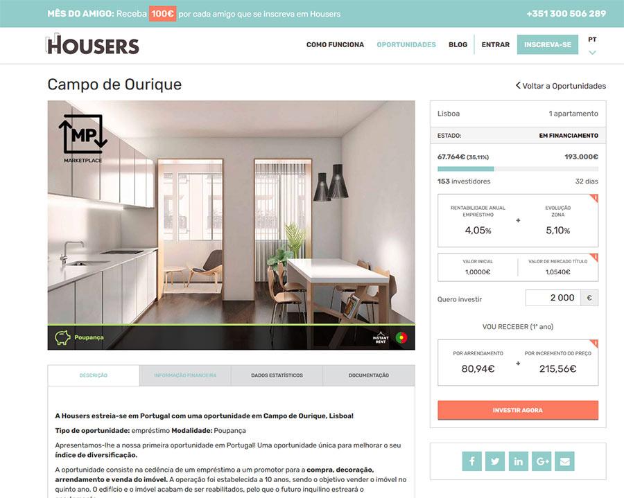 Primeira oportunidade de investimento da Housers em Portugal
