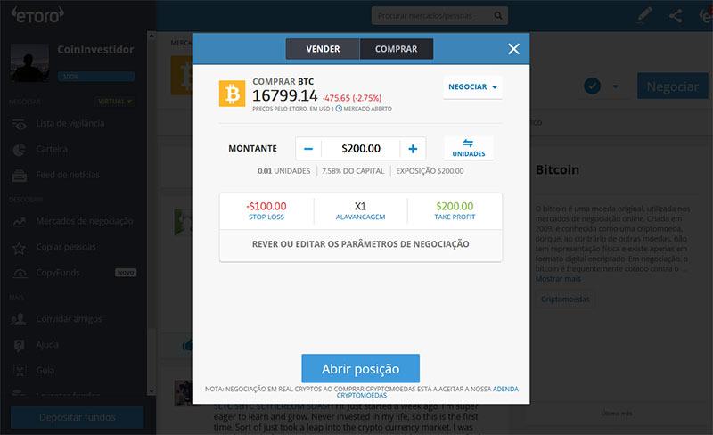 Investir dinheiro em Criptomoedas no Etoro