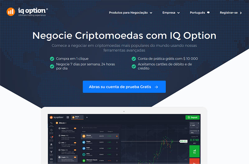Negociar criptomoedas no site IQOPTION