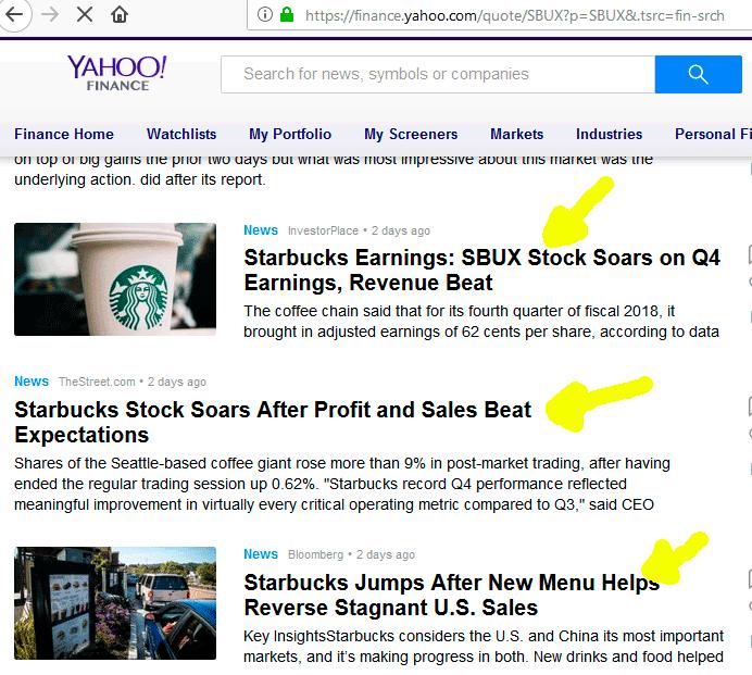 Notícias positivas sobre a Starbucks no Yahoo Finance