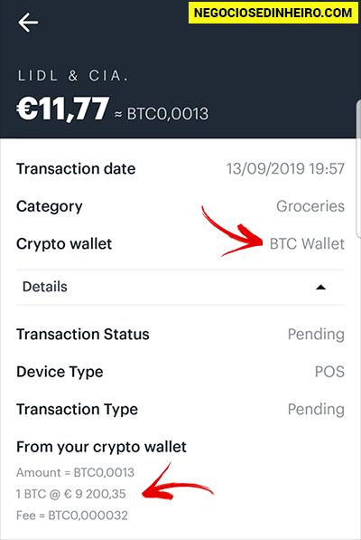 Pagamento com o Coinbase Card