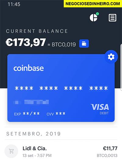 Pagamentos com a app Coinbase Card