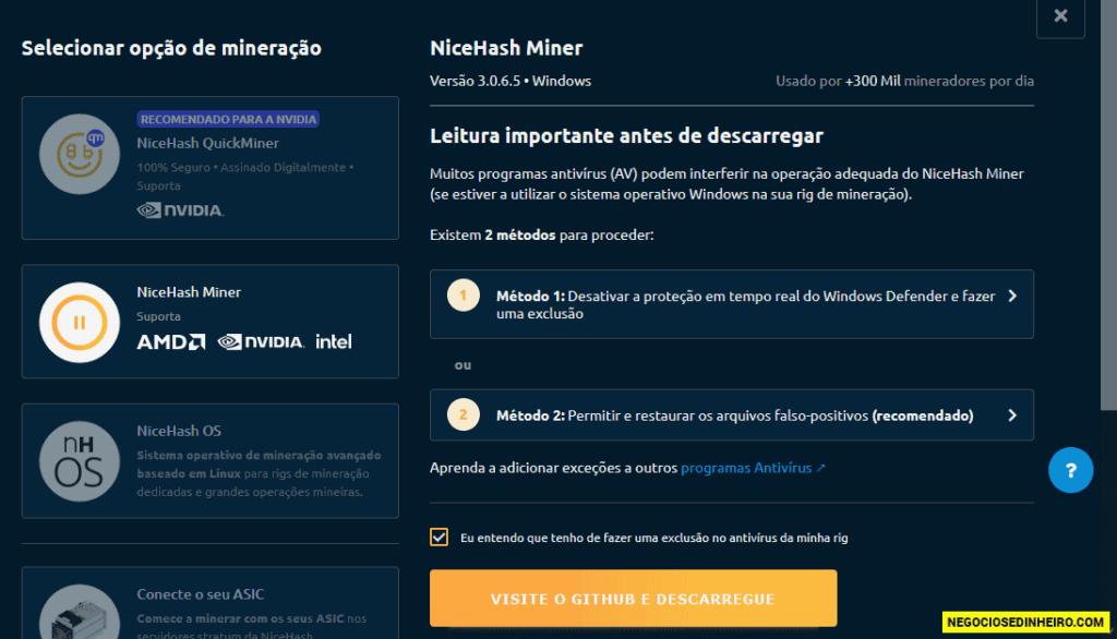 Página com o programa NiceHash Miner para minerar criptomoedas