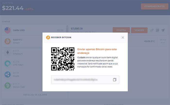 Código QR para receber criptomoedas na Hodly