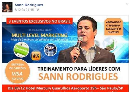 Sann Rodrigues, o principal promotor do esquema é apresentado como um Líder Internacional com mais de 2 milhões de afiliados em 120 países, mas este esquema nem tem metade disso.