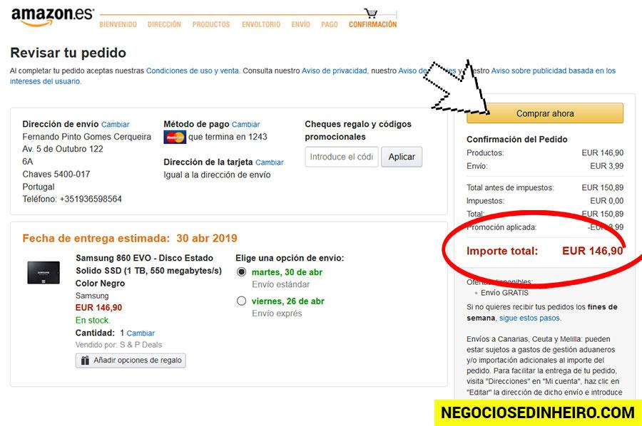 Site da Amazon Espanha