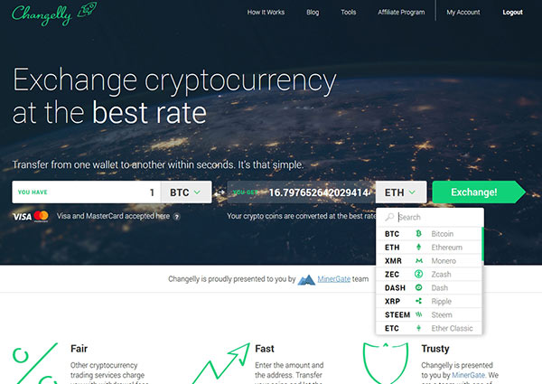 Site Changelly para Exchange de Criptomoedas