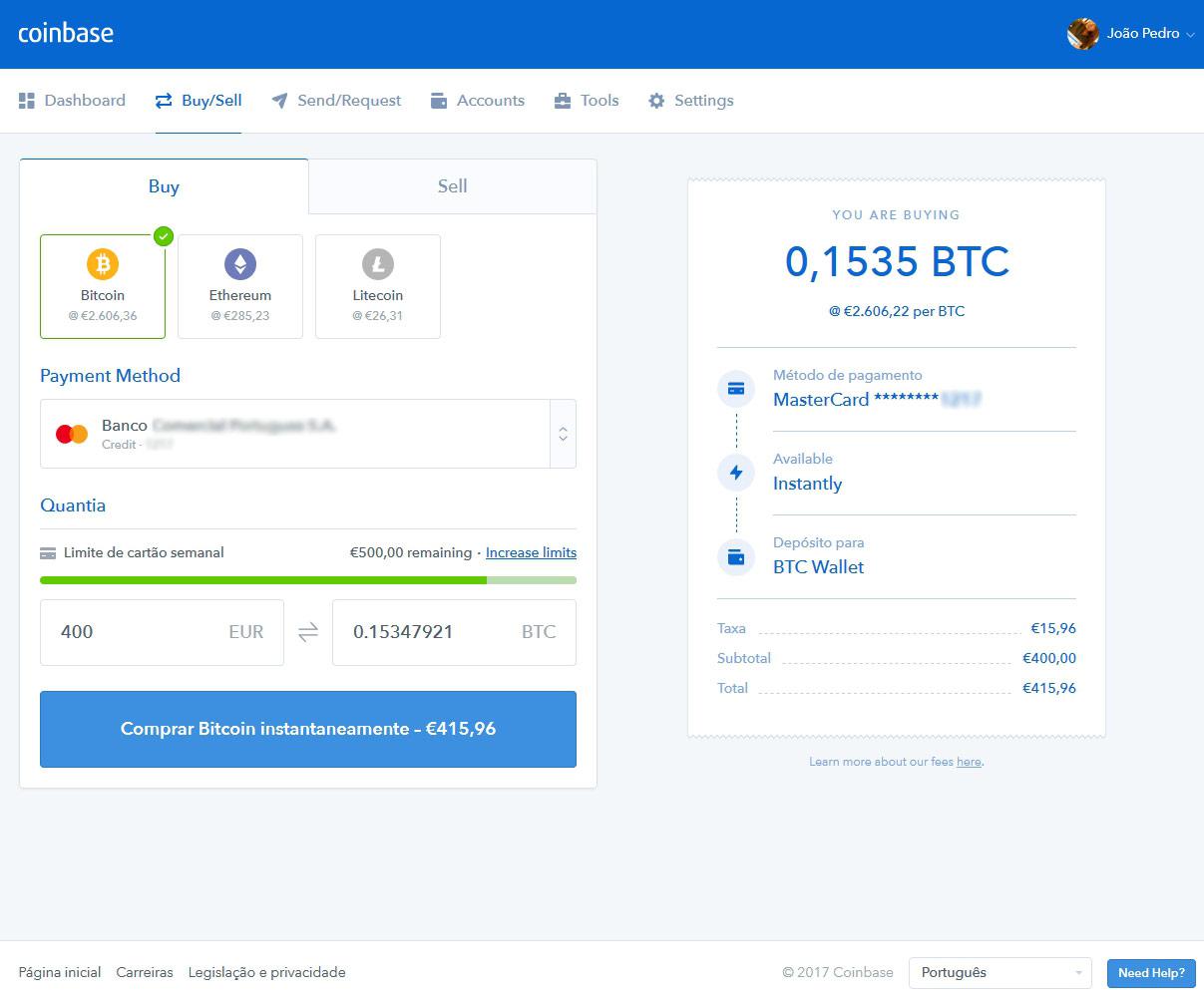 Comprar bitcoins em Portugal