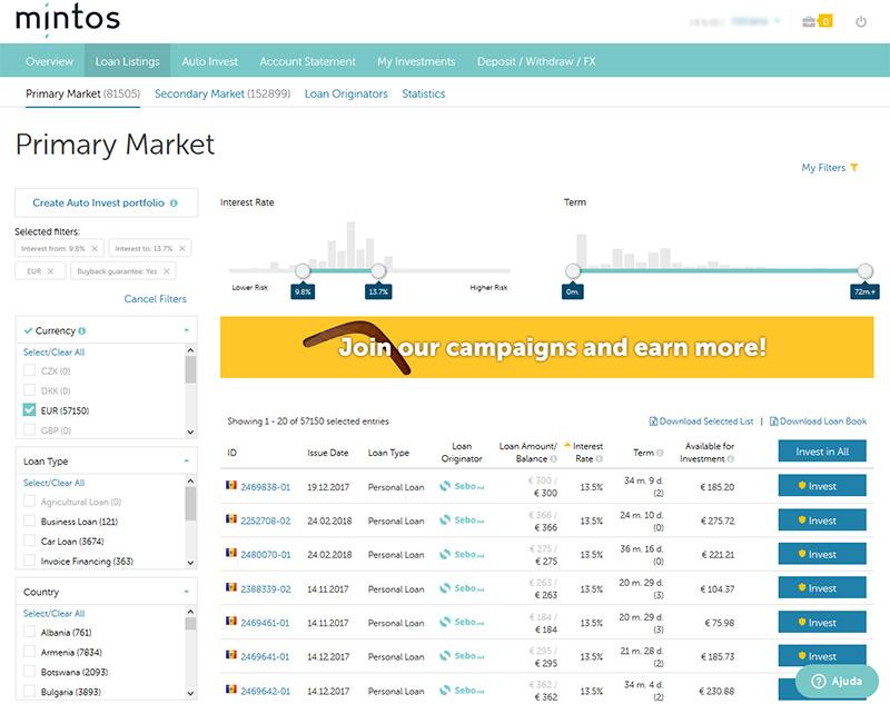 Site Mintos.com - Plataforma de crowdfunding