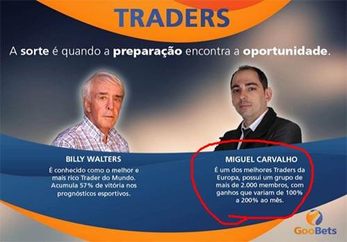 Modificaram o slide com os traders de sucesso. Novamente, colocaram o dono deste golpe como um trader muito bom. Ainda continuam a afirmar mentiras. Desta vez, é que ele consegue ganhos entre 100% e 200% ao mês.