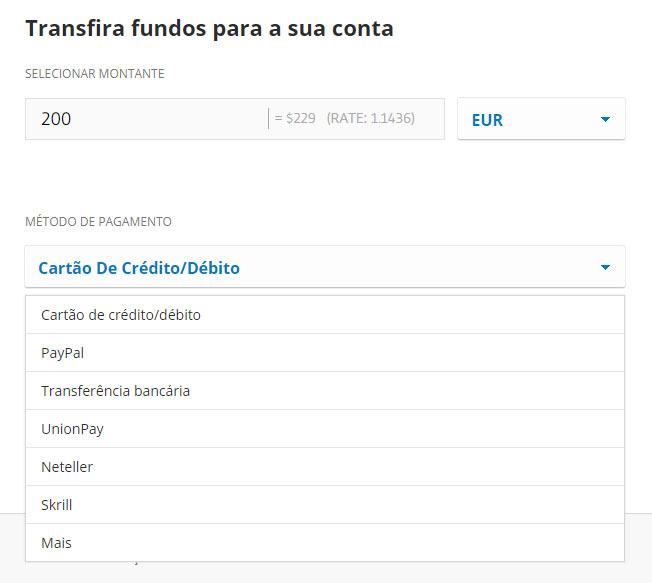 Transferir fundos para o Etoro