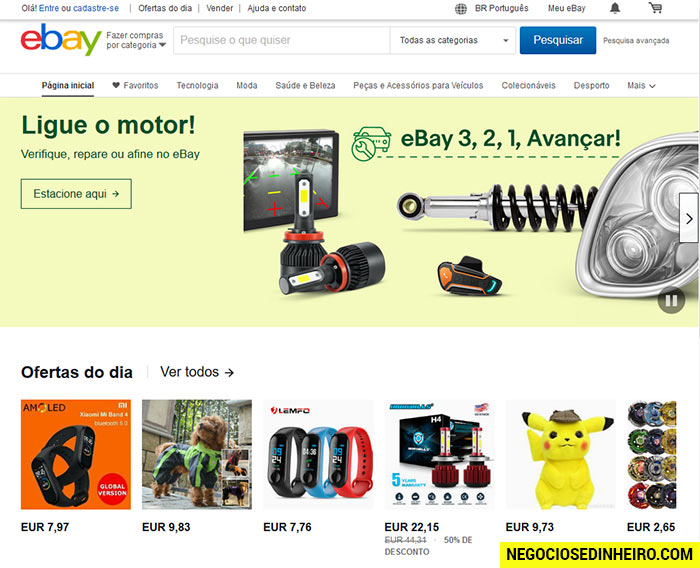 Vender coisas usadas no eBay