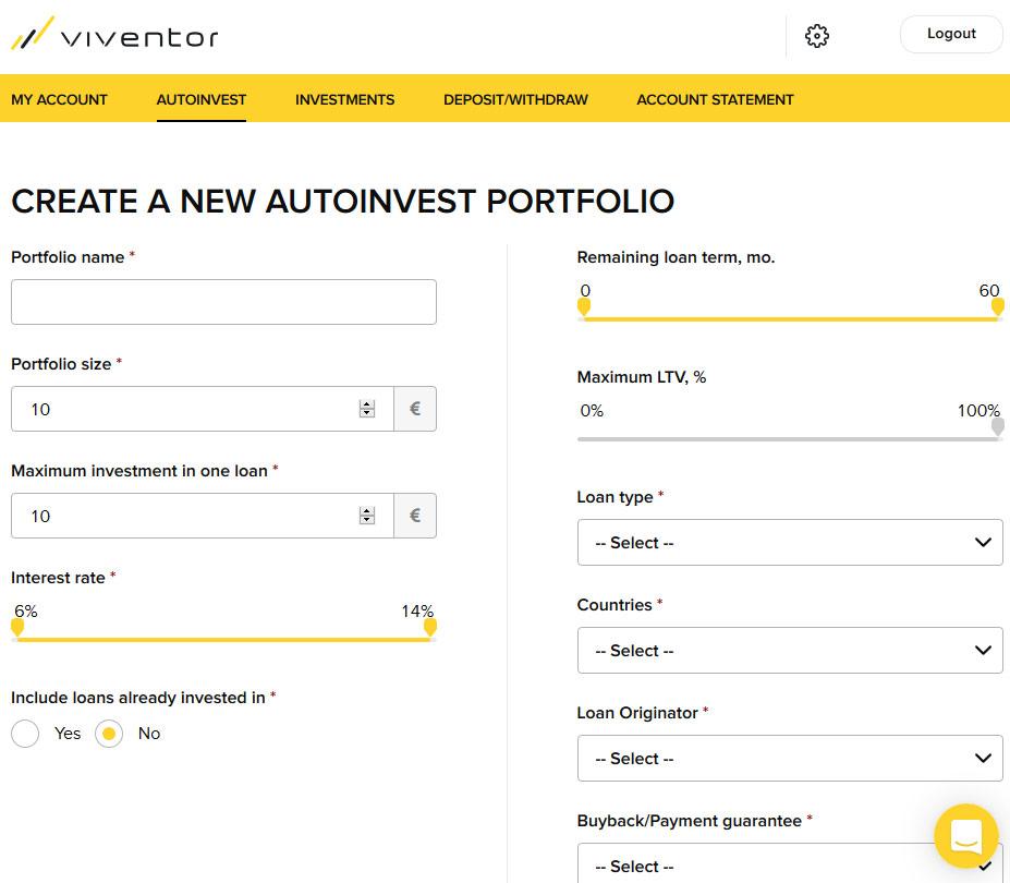 Página Auto Invest na plataforma de financiamento coletivo Viventor