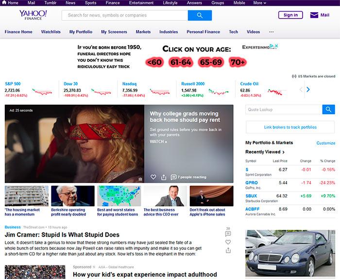Consultar detalhes das ações no Yahoo Finance